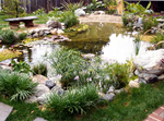 This pond adds fun to your backyard with beach and surfboard.